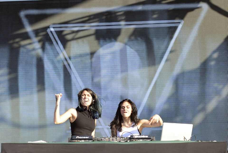 MIAMI, FL - MARCH 29:  Yasmine Yousaf (L) and Jahan Yousaf of Krewella perform during the Ultra Music Festival at Bayfront Pa