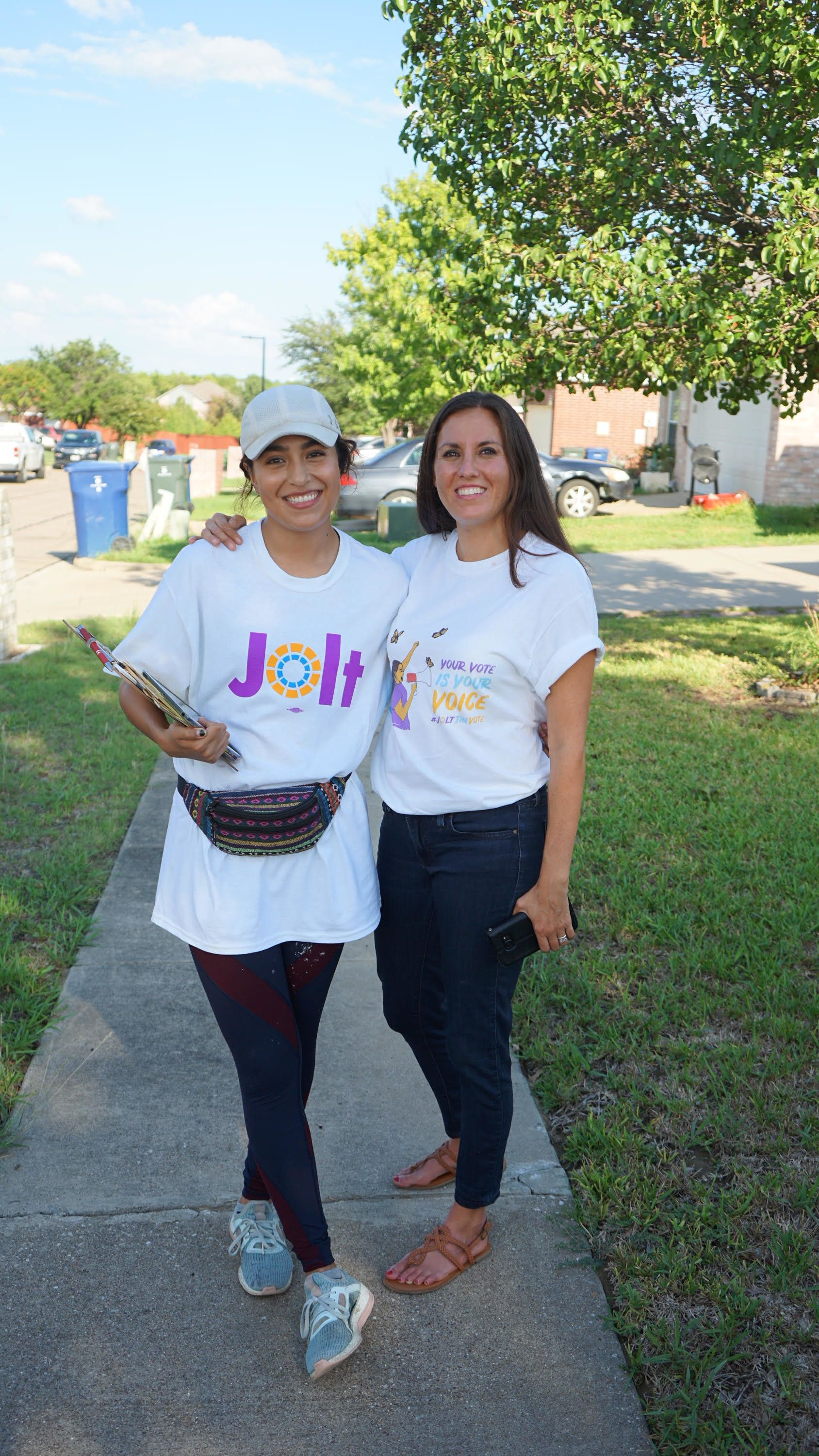 Cristina Tzintzun, right, is the founder of Jolt, a nonprofit that engages with and encourages Latinos to vote in Texas.&nbsp