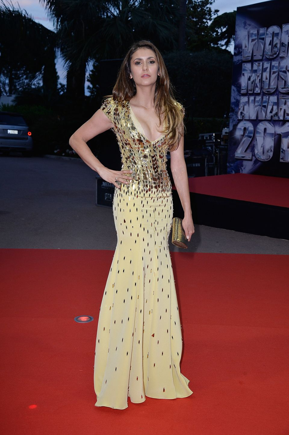 MONTE-CARLO, MONACO - MAY 27:  Actress Nina Dobrev arrives the World Music Awards at Sporting Monte-Carlo on May 27, 2014 in