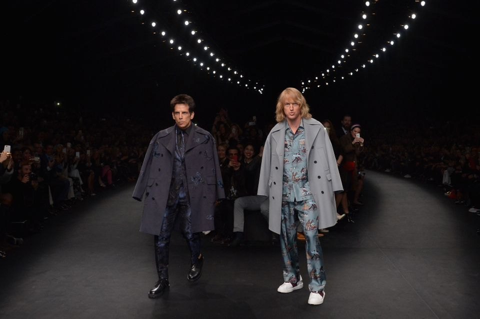 PARIS, FRANCE - MARCH 10: (L-R) Ben Stiller and Owen Wilson walk the runway during the Valentino show as part of the Paris Fa