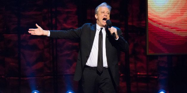 "Jon Stewart appears onstage at Comedy Central's ""Night of Too Many Stars: America Comes Together for Autism Programs"" at the"