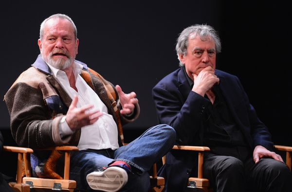 Terry Gilliam and Terry Jones attend the 'Monty Python' press conference.