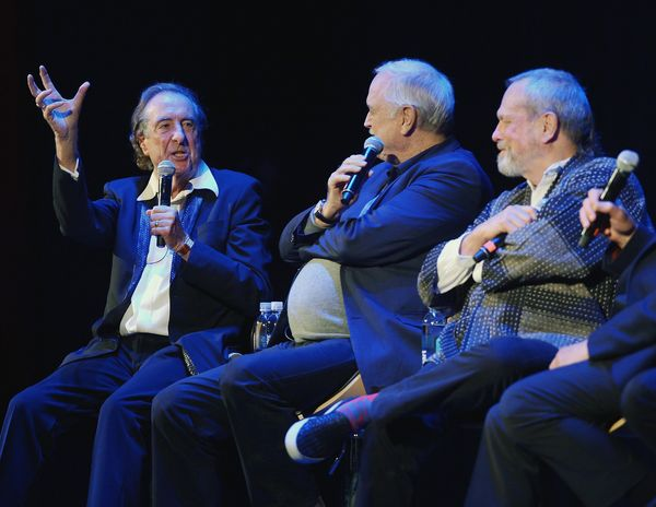 Eric Idle speaking at the panel discussion.