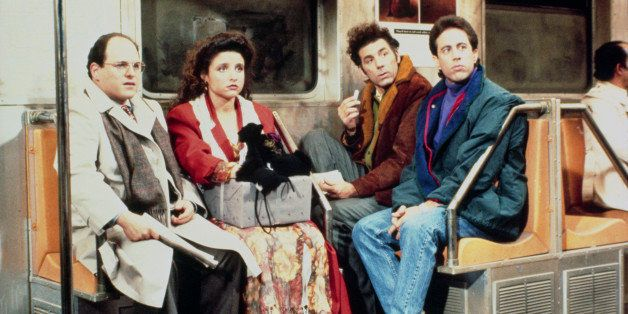 SEINFELD -- Pictured: (l-r) Jason Alexander as George Costanza, Julia Louis-Dreyfus as Elaine Benes, Michael Richards as Cosm