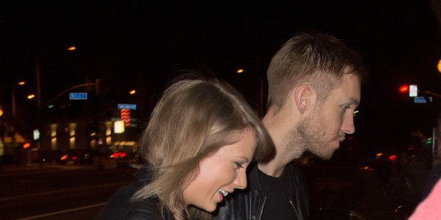 LOS ANGELES, CA - APRIL 02: (EXCLUSIVE COVERAGE) Taylor Swift and Calvin Harris arrive at the Troubadour in West Hollywood to