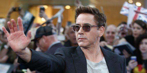 US actor Robert Downey Jr poses on the red carpet for the European premiere of the film 'Avengers: Age of Ultron' in London o
