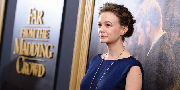 """Actress Carey Mulligan attends the premiere for """"Far From The Madding Crowd"""" at the Paris Theatre on Monday, April, 27, 2015,"""