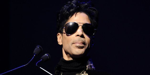 "Musician Prince holds a press conference at The Apollo Theater announcing his ""Welcome 2 America"" tour in New York, on Thursd"