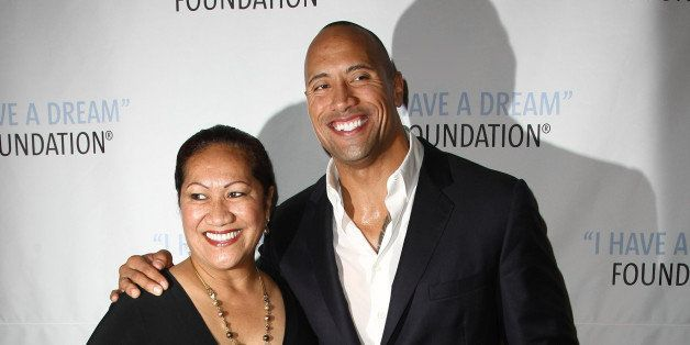 NEW YORK - JUNE 11:  Actor Dwayne 'The Rock' Johnson (R) and mother Ata Johnson attend the 2009 I Have A Dream Foundation Spr