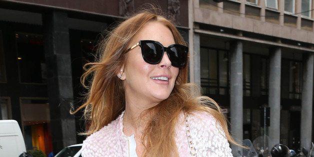 MILAN, ITALY - APRIL 29: Lindsay Lohan goes shopping in John Richmond on April 29, 2015 in Milan, Italy.  (Photo by Robino Sa