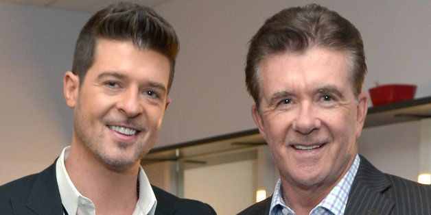 LOS ANGELES, CA - DECEMBER 06:  Recording artist Robin Thicke and actor Alan Thicke attend The GRAMMY Nominations Concert Liv