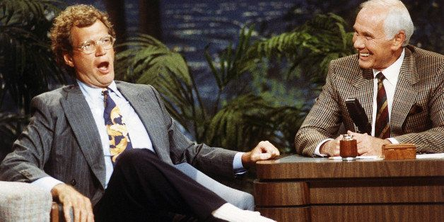 "FILE - In this Aug. 30, 1991 file photo, ""Late Night with David Letterman"" host David Letterman, left, appears with host John"