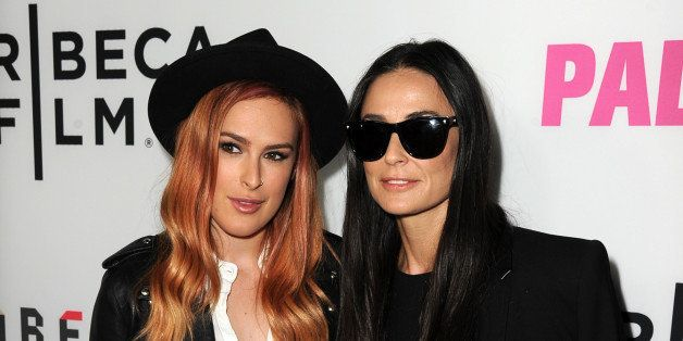 LOS ANGELES, CA - MAY 05:  Actresses Rumer Willis (L) and Demi Moore attend the premiere of Tribeca Film's 'Palo Alto' at the