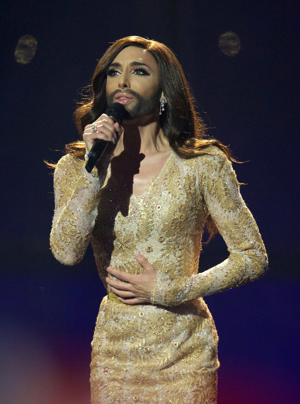 COPENHAGEN, DENMARK - MAY 08: Conchita Wurst of Austria performs on stage during the second Semi Final of the Eurovision Song
