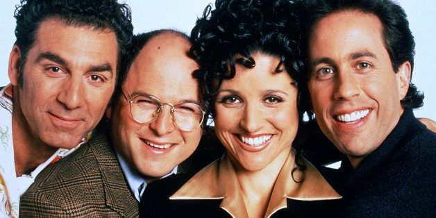 SEINFELD -- Season 9 -- Pictured: (l-r) Michael Richards as Cosmo Kramer, Jason Alexander as George Costanza, Julia Louis-Dre