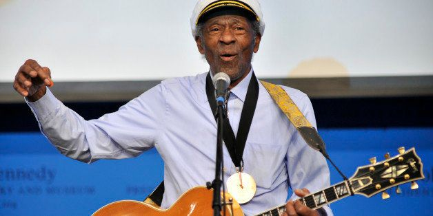 "FILE - This Feb. 26, 2012 file photo, musician Chuck Berry plays ""Johnny B. Goode"" at the John F. Kennedy Presidential Librar"