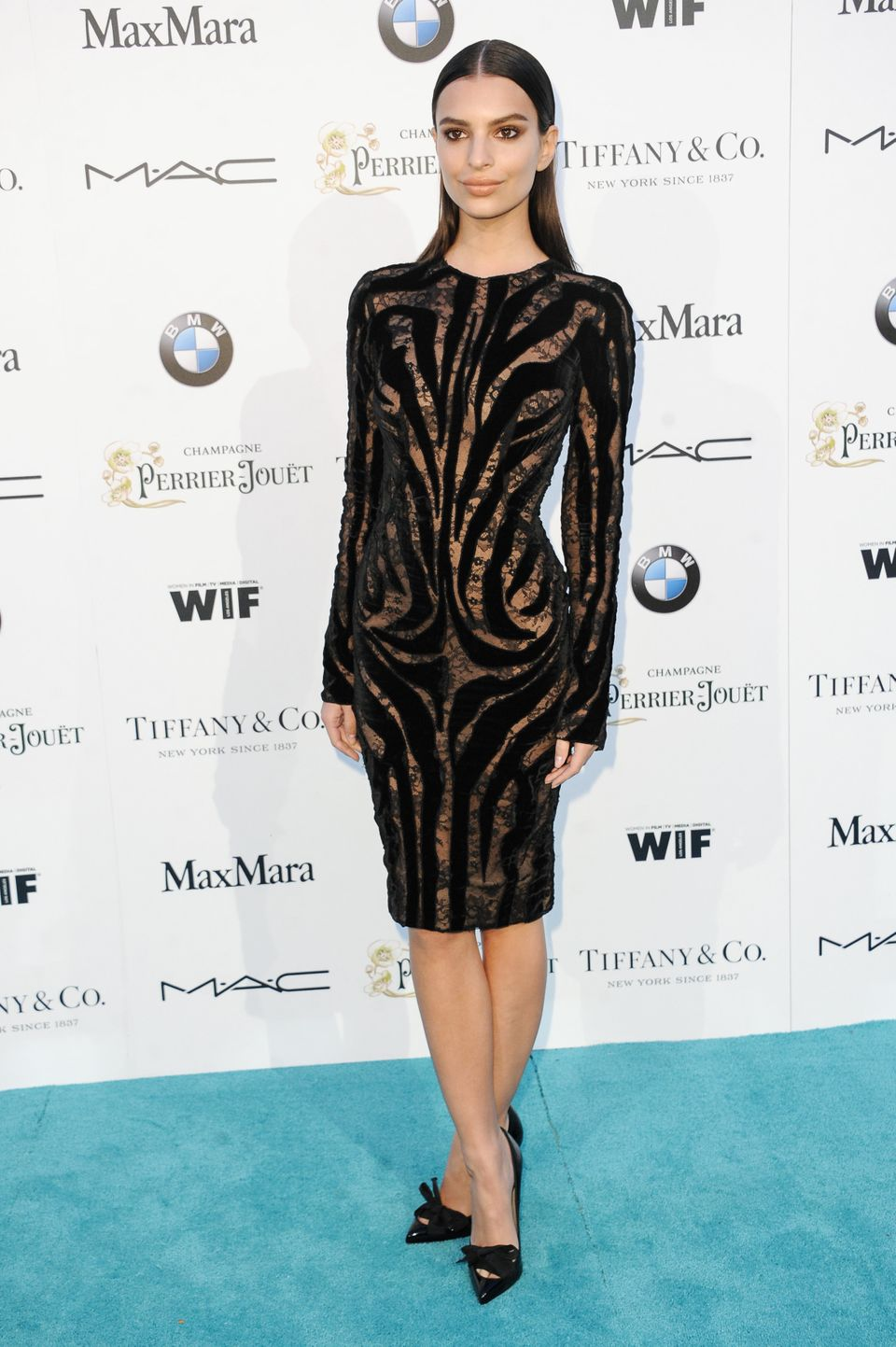 Emily Ratajkowski arrives at the 8th Annual Women In Film Pre-Oscar Cocktail Party on Friday, Feb. 20, 2015, in Los Angeles.