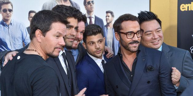 Mark Wahlberg, from left, Adrian Grenier, Kevin Dillon, Jerry Ferrara, Jeremy Piven and Rex Lee arrive at the LA Premiere Of