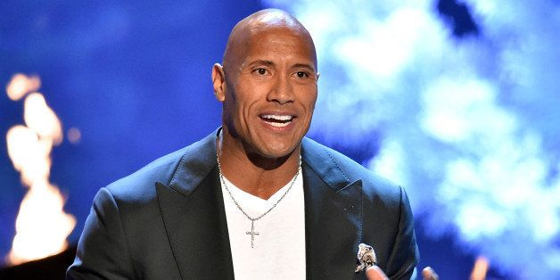 CULVER CITY, CA - JUNE 06:  Actor Dwayne Johnson accepts the Troops' Choice award onstage during Spike TV's Guys Choice 2015
