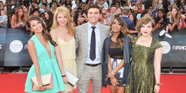 TORONTO, ON - JUNE 15:   The cast of 'Degrassi' arrive at the 2014 MuchMusic Video Awards at MuchMusic HQ on June 15, 2014 in