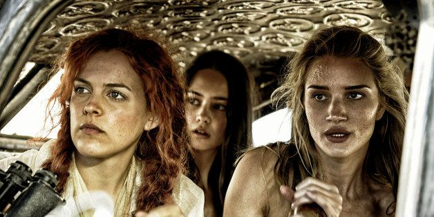 This photo provided by Warner Bros. Pictures shows, from left, Riley Keough as Capable, Courtney Eaton as Cheedo the Fragile,
