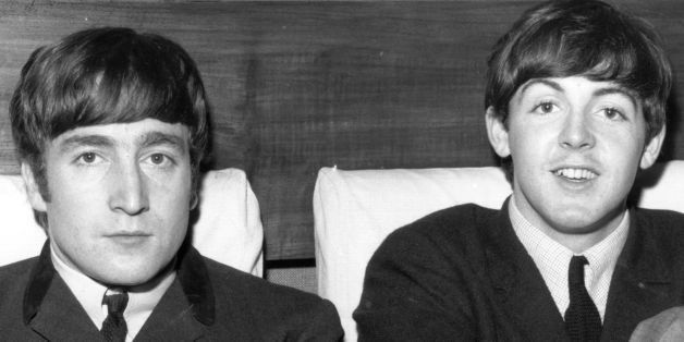 1st November 1963:  Two members of Liverpudlian pop group The Beatles, John Lennon (1940 - 1980), singer and guitarist, left,