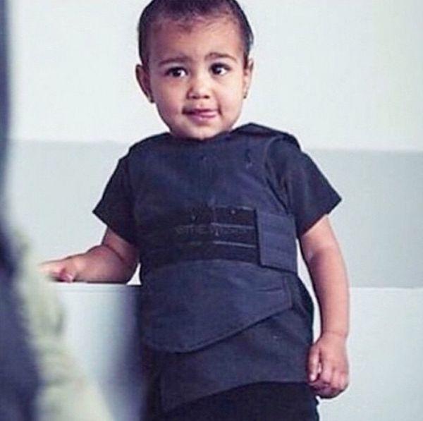 """Look at my little cutie!!! #DaddysMuse #BabyYeezyBulletProofVest"""