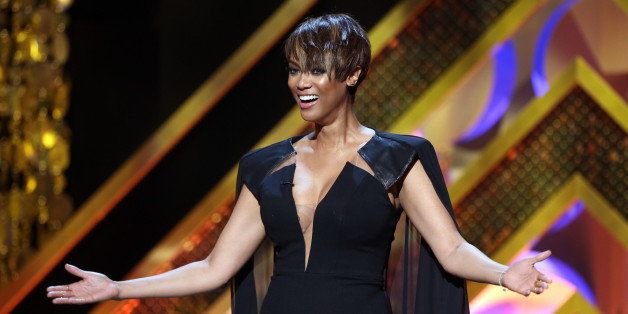 BURBANK, CA - APRIL 26:  Host Tyra Banks speaks onstage during The 42nd Annual Daytime Emmy Awards at Warner Bros. Studios on