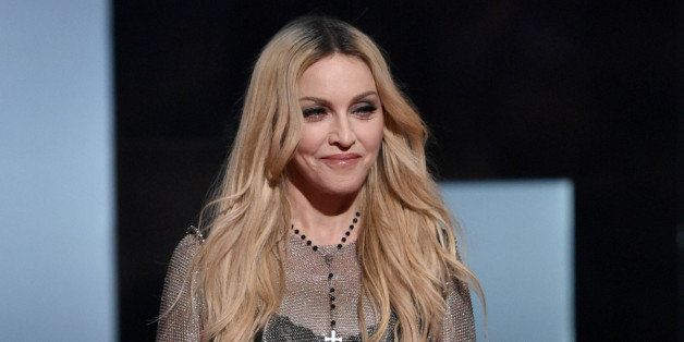 Madonna speaks on stage at the iHeartRadio Music Awards at The Shrine Auditorium on Sunday, March 29, 2015, in Los Angeles.