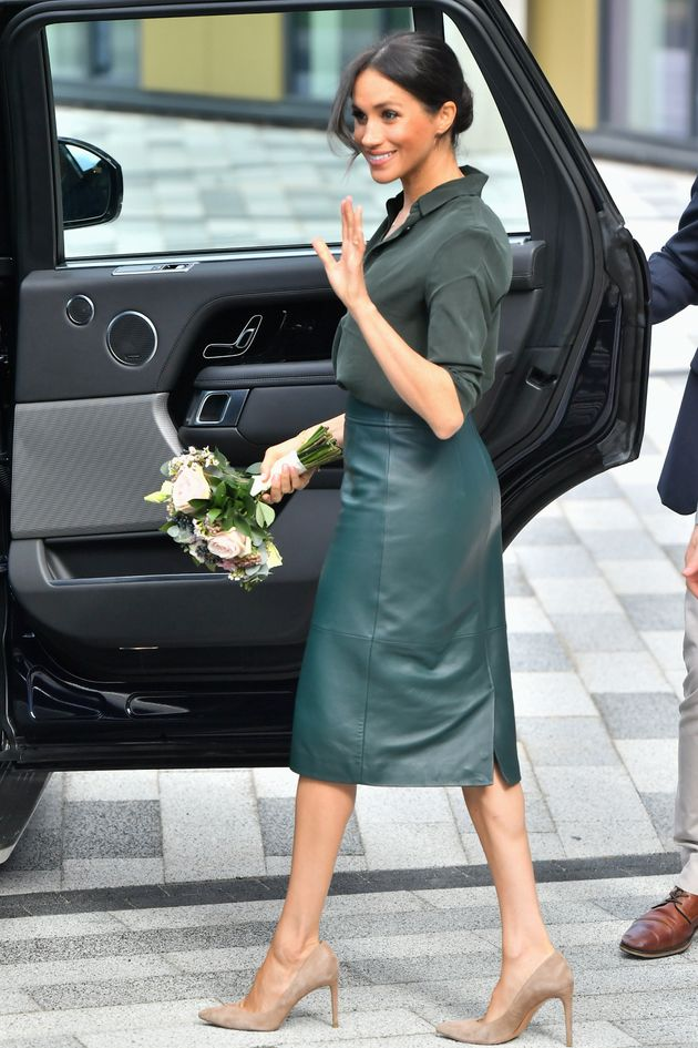 Meghan, Duchess of Sussex departs from the University of Chichester's Engineering and Digital Technology...