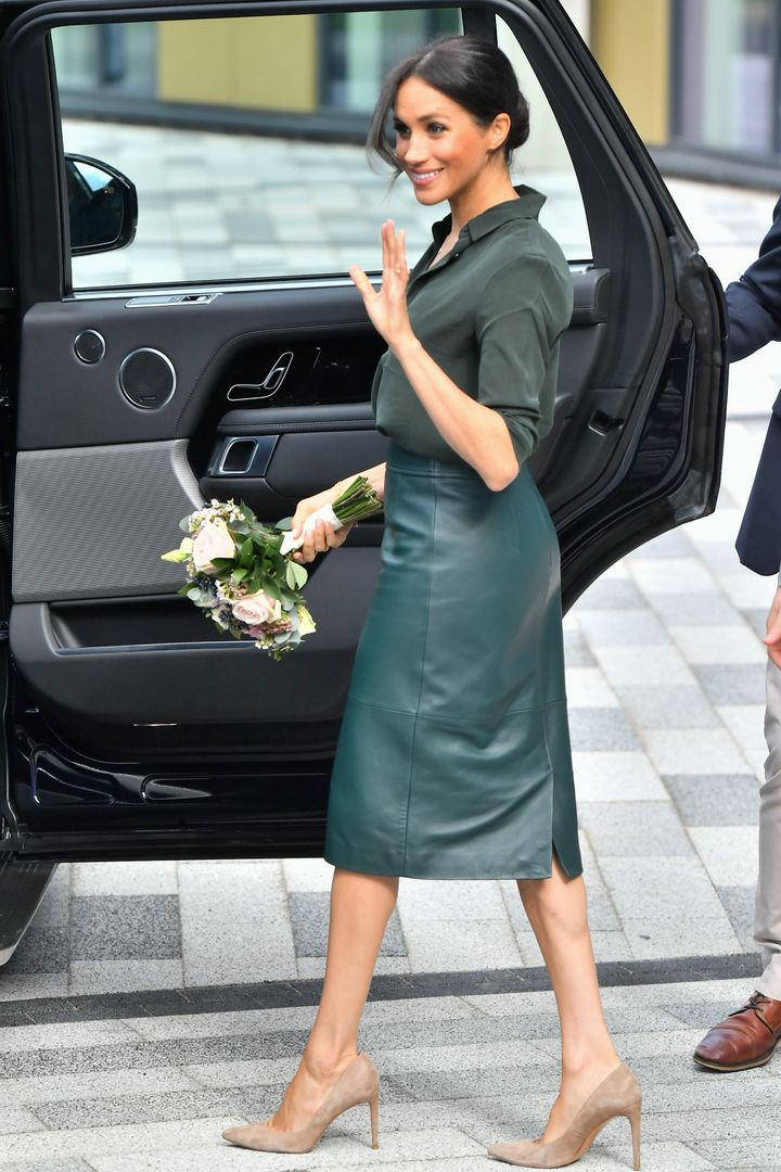 Meghan, Duchess of Sussex departs from the University of Chichester's Engineering and Digital Technology Park during an official visit to Sussex on Oct. 3.