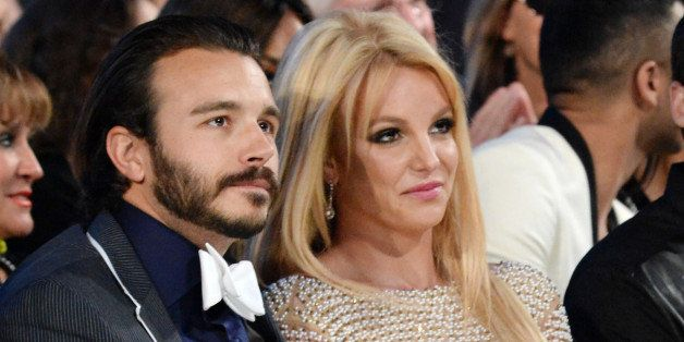 LAS VEGAS, NV - MAY 17:  Singer Britney Spears (R) and Charlie Ebersol attend the 2015 Billboard Music Awards at MGM Grand Ga