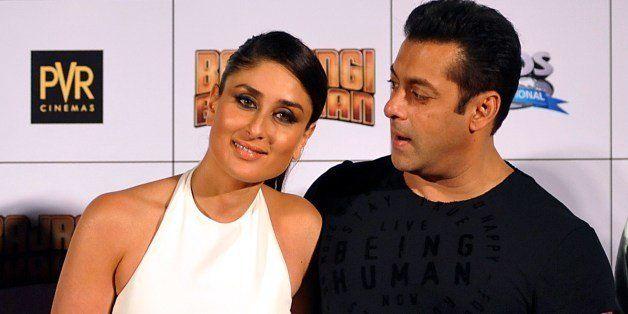 Indian Bollywood actress Kareena Kapoor Khan (L) poses alongside actor Salman Khan during the trailer launch of the forthcomi