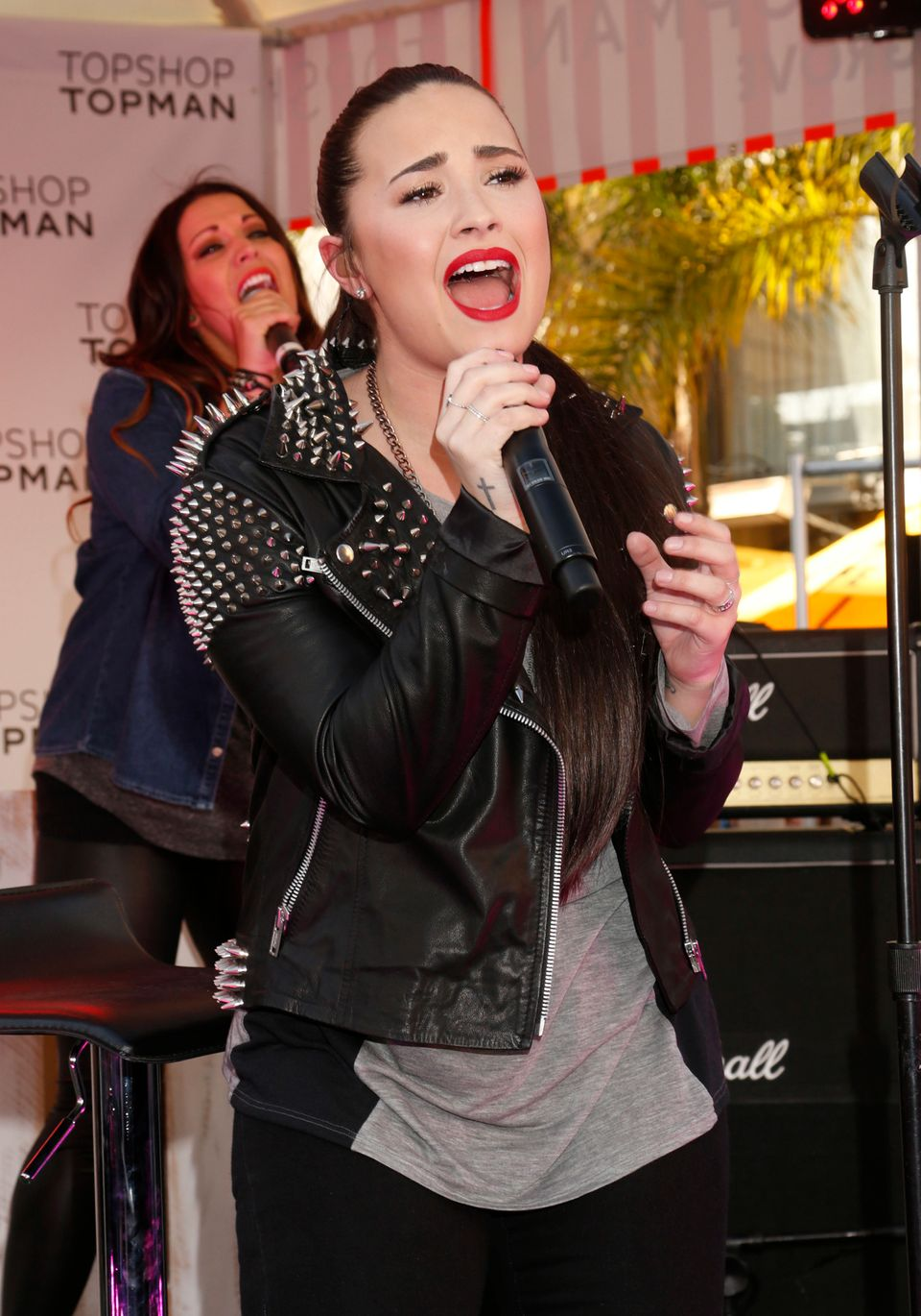 Demi Lovato performs at Sir Philip Green's British Street Party to celebrate the Opening of TOPSHOP and TOPMAN at The Grove,