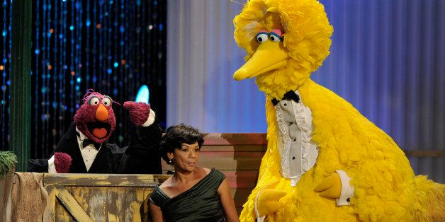 Telly Monster, left, Sonia Manzano, center, and Big Bird perform at the Daytime Emmy Awards on Sunday Aug. 30, 2009,in Los An