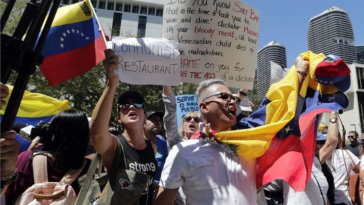A Venezuelan-American demonstration in Miami protesting an appearance by Venezuelan President Nicolas Maduro in a celebrity c