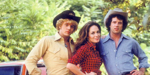 American actors (left to right) John Schneider, Catherine Bach and Tom Wopat in a promotional portrait for the TV show 'The D