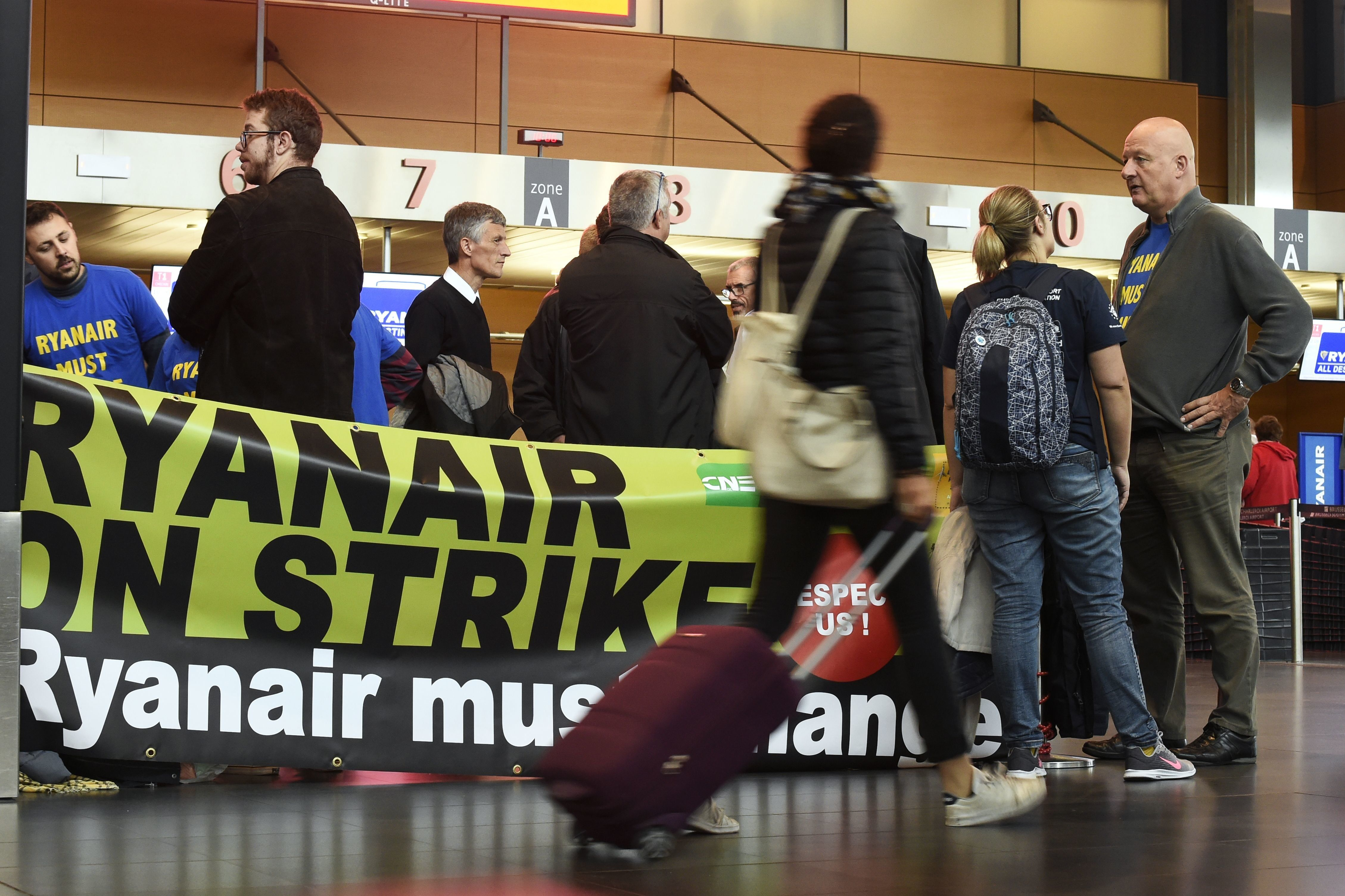 Workers striking at a Brussels airport last