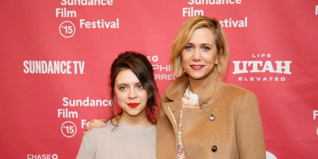 "Actresses Bel Powley, left, and Kristen Wiig, right, pose at the premiere of ""The Diary of a Teenage Girl"" during the 2015 Su"