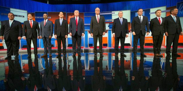 Republican presidential candidates from left, Chris Christie, Marco Rubio, Ben Carson, Scott Walker, Donald Trump, Jeb Bush,
