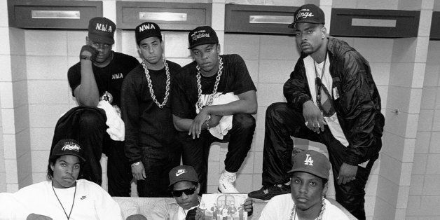 KANSAS CITY - JUNE 1989:  Rap group N.W.A. pose with rappers The D.O.C. and Laylaw from Above The Law (L-R standing: Laylaw,