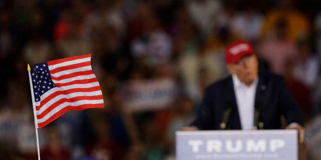 Republican presidential candidate businessman Donald Trump speaks during a campaign pep rally, Friday, Aug. 21, 2015, in Mobi