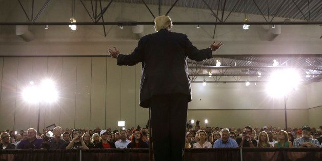 Republican presidential candidate Donald Trump speaks during a rally, Tuesday, Aug. 25, 2015, in Dubuque, Iowa. (AP Photo/Cha