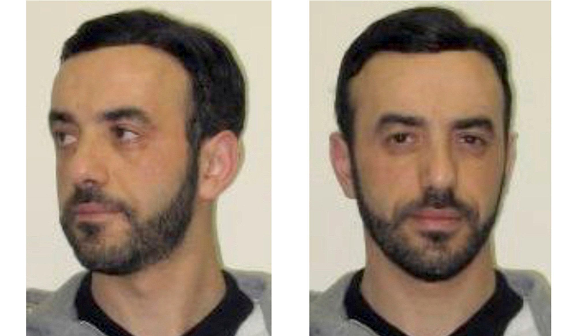 FILE - This July 9, 2018 file screenshot of the Interpol website shows portraits of notorious French criminal, Redoine Faid, as part of Interpol's wanted notice. Police have caught one of France's most wanted men, three months after his spectacular helicopter escape from prison. French Justice Minister Nicole Belloubet said on Europe 1 radio that Redouine Faid was arrested early Wednesday in Creil, north of Paris, without resistance. (Interpol via AP, File)
