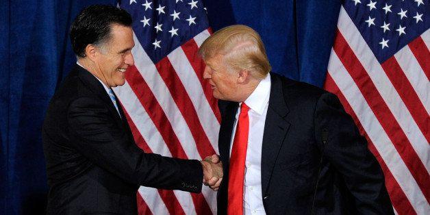 LAS VEGAS, NV - FEBRUARY 02:  Republican presidential candidate, former Massachusetts Gov. Mitt Romney (L) and Donald Trump s
