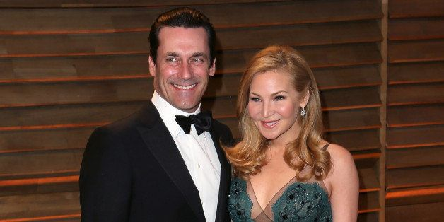 WEST HOLLYWOOD, CA - MARCH 02:  Actors John Hamm (L) and Jennifer Westfeldt attend the 2014 Vanity Fair Oscar Party hosted by