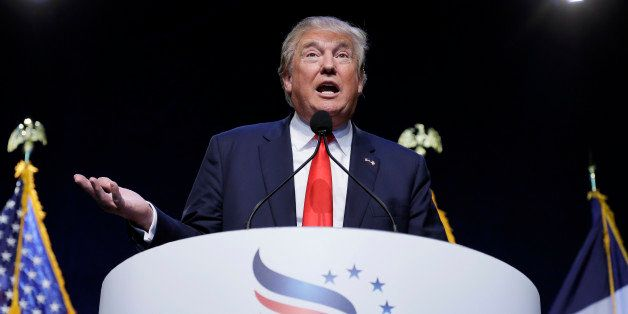 Republican presidential candidate, businessman Donald Trump speaks during the Iowa Faith & Freedom Coalition's annual fal