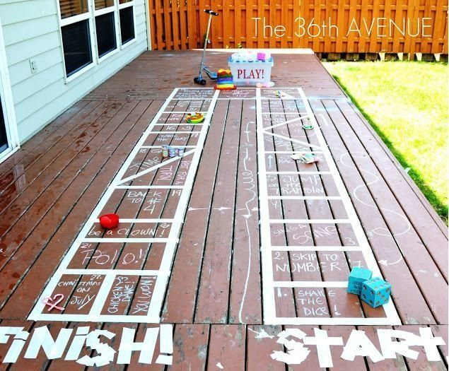 Get your kids' creative juices flowing by challenging them to create their own giant board game in the yard. After deci