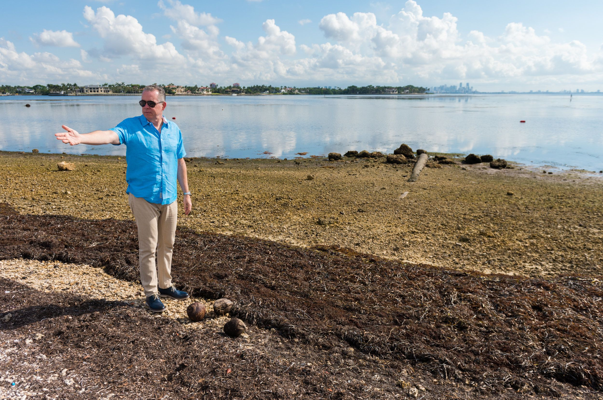 Morales  at Matheson Hammock Park, where signs of last year's flooding from Hurricane Irma remain.
