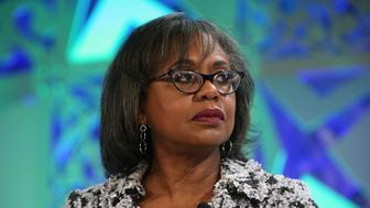 LAGUNA NIGUEL, CA - OCTOBER 02:  Anita Hill speaks onstage at the Fortune Most Powerful Women Summit 2018 at Ritz Carlton Hotel on October 2, 2018 in Laguna Niguel, California.  (Photo by Phillip Faraone/Getty Images for Fortune)